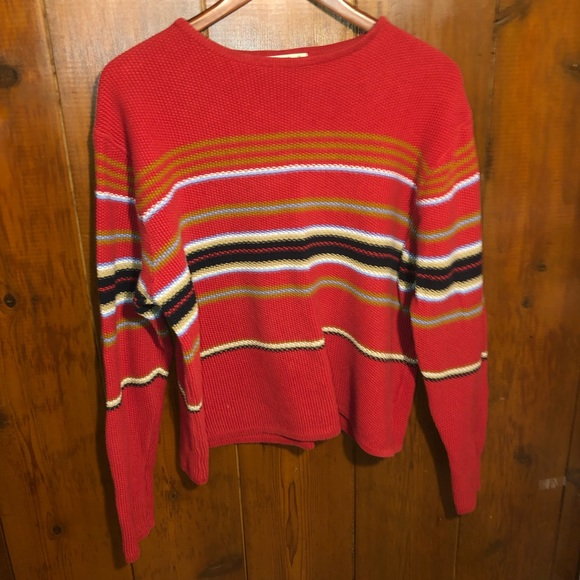 Eddie Bauer Sweaters - Vintage Red Chunky Striped Sweater